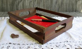 Vintage wooden desk-organizer