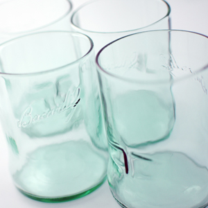 Upcycled drinking glasses from bottles