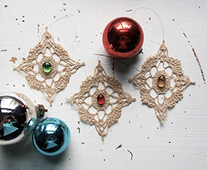 Victorian lace Christmas ornaments