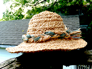 Hand-made raffia hat