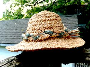 Hand-made raffia hat