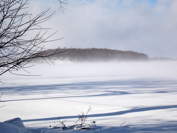 winter on Rice Lake with blowing snow