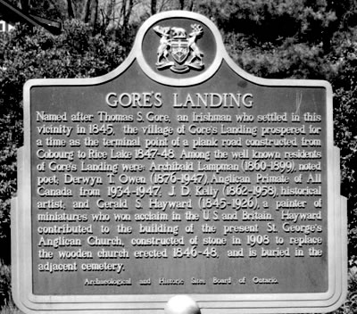 Gore's Landing, Ontario. Historic Plaque