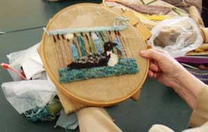 Loon hooked rug