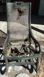 "My rescued rocker ""before"" (fabric & nails removed)"